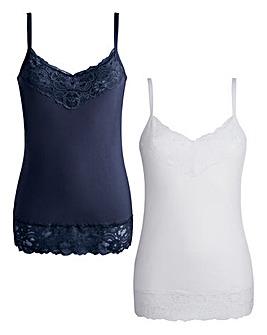 Joanna Hope Lace-Trim Jersey Vests