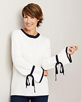 Contrast Tie Sleeve Jumper