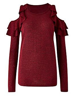 Metalic Cold Shoulder Knitted Jumper
