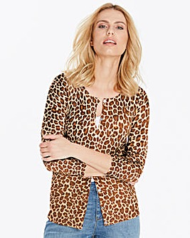 Animal Print Crew Neck Cardigan