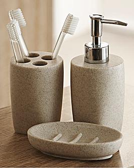 Stone Effect 3-Piece Bathroom Accessory