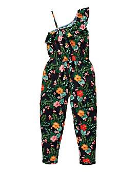 Girls One Shoulder Floral Jumpsuit