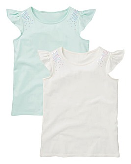 Girls Pack of Two Sequin T-Shirts