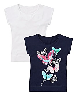 Girls Pack of Two Butterfly T-shirts