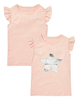 Girls Pack of Two Star Print T-shirts