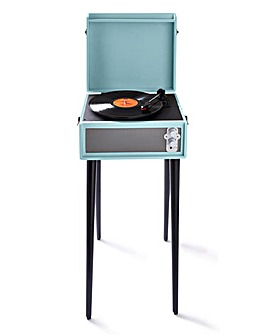 Retro Record Player with Legs Blue