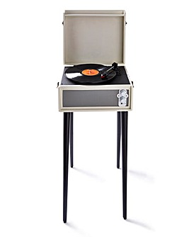 Retro Record Player with Legs Cream