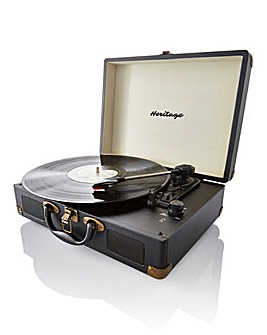 Retro Suitcase Style Turntable Black