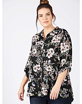 Lovedrobe GB black floral print shirt