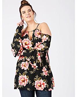 Lovedrobe GB floral cold shoulder blouse