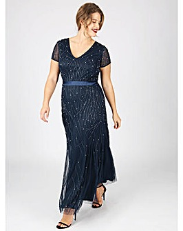 Lovedrobe Luxe v-neck navy maxi dress