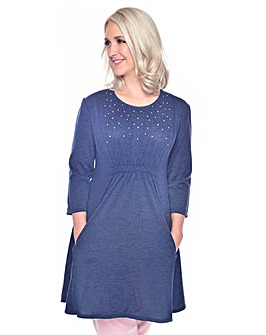Grace stud knit tunic dress with pockets