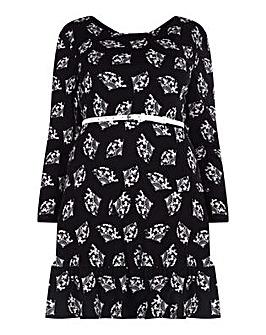 Yumi Curves Oriental Fan Print Dress