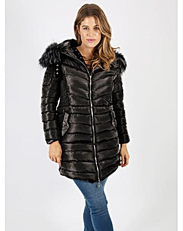 Lovedrobe black longline quilted jacket
