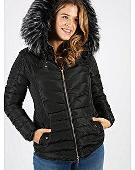 Lovedrobe black short quilted jacket