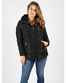 Lovedrobe black faux fur hood jacket