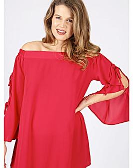 Lovedrobe GB red tie sleeve Bardot top