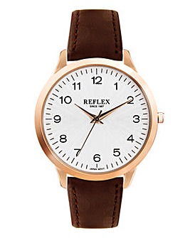Gents Rose Tone Watch With Brown Strap