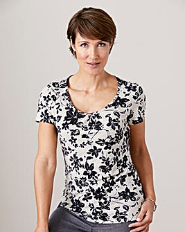 Floral Print Jersey Round Neck Top