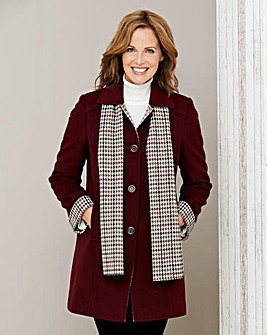 Coat with Check Trim and Scarf