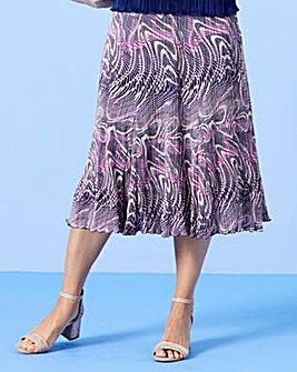 Print Plisse Skirt with Godets L27in