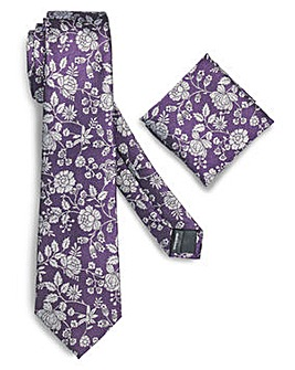 Williams & Brown Floral Tie and Pocket S