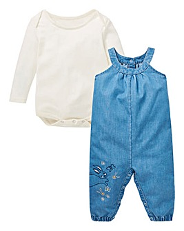 Baby Girl Denim Dungaree Set