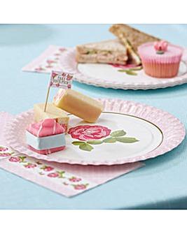 Vintage Rose Paper Plates x 8