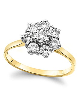 Moissanite 9 Carat Gold Cluster Ring
