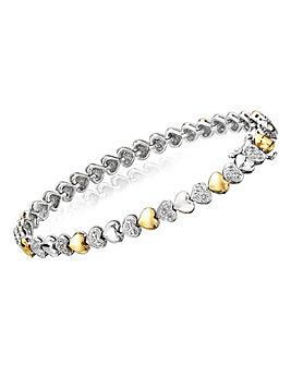 Silver & 9 Carat Gold Heart Bracelet