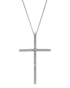 White Gold Large Diamond Cross Pendant