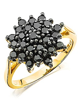 1ct Black Diamond Cluster Ring