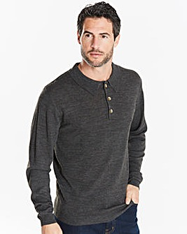 Capsule Charcoal L/S Knitted Polo R