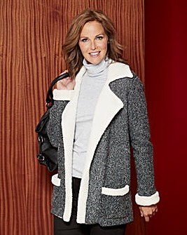 Knitted Shearling Trimmed Jacket