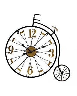 Hometime Metal Wall Clock Penny Farthing