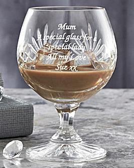 Personalised Panel Cut Crystal Brandy Gl