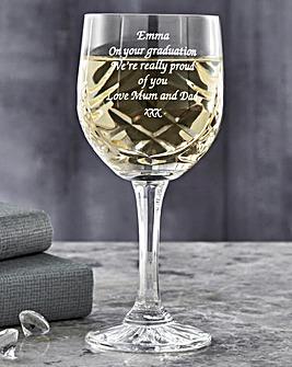 Personalised Panel Cut Crystal Wine Gobl