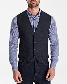 Black Label Tweed Wool Waistcoat Long