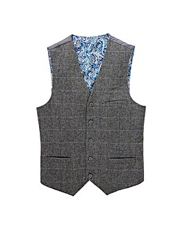Black Label Herringbone Check Waistcoat
