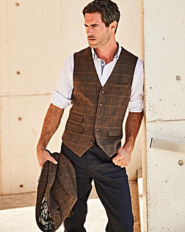 Black Label Brown Checked Waistcoat L