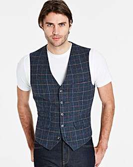 Black Label Blue Checked Waistcoat L