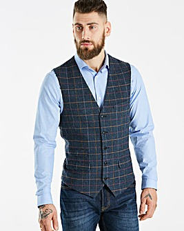 Black Label Blue Slim Check Waistcoat R