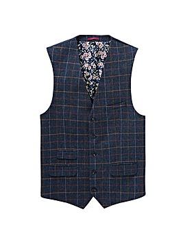 Black Label Blue Checked Waistcoat L