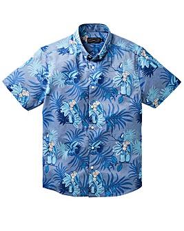 Label J Blue Chambray Print Shirt Long