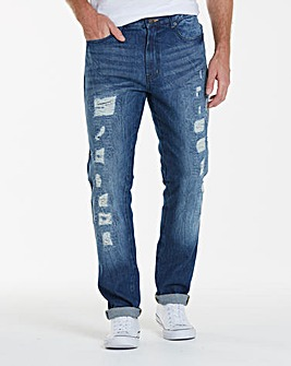 Label J Rip and Repair Tapered Jeans L