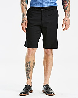 Black Label Black Belted Slim Shorts