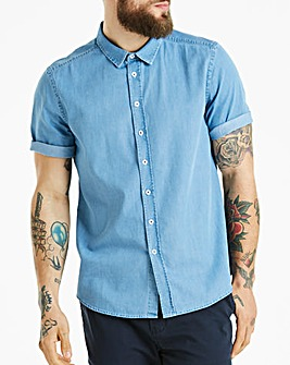 Jacamo Denim Short Sleeve Shirt Long