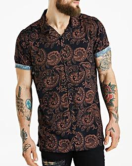 Jacamo Revere Collar Print Shirt Regular