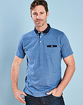 Black Label Navy Stripe Trim Polo L