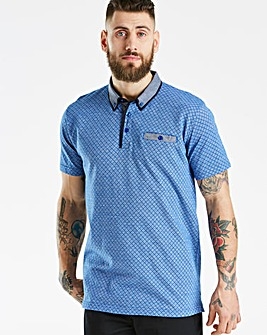 Black Label Blue Patterned Polo L